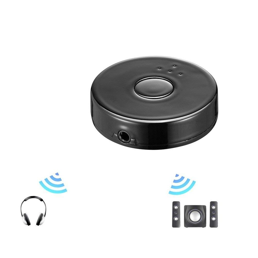 UKCOCO Wireless Bluetooth 4.0 Audio Transmitter, Mini Bluetooth Adapter to 3.5mm Audio Devices Support Two Bluetooth Headphones or Speakers Simultaneously for TV PC MP3 MP4