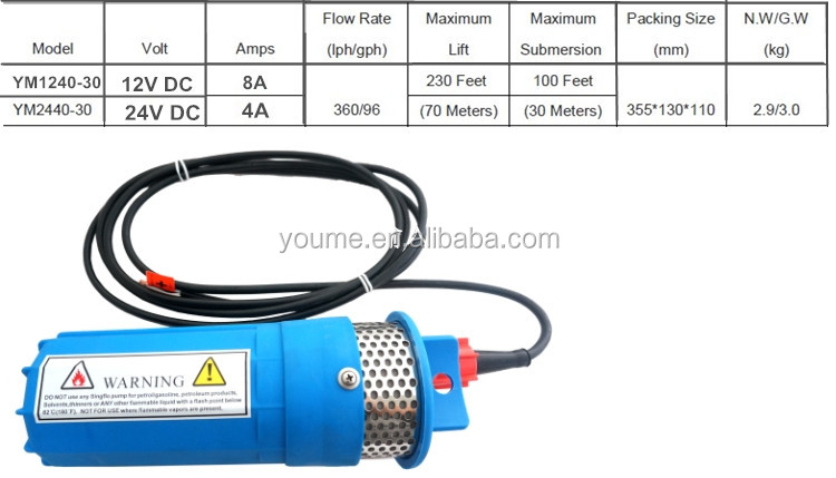 9300 210ft lift 24 volt electric solar powered high pressure deep well submersible pump