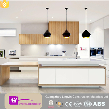 Contemporary White Lacquer Match Wood Veneer Kitchen Cabinet Doors GuangZhou