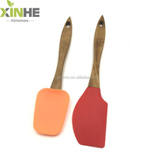 LFGB FDA standard kitchen silicone spatula spoon with wooden handle