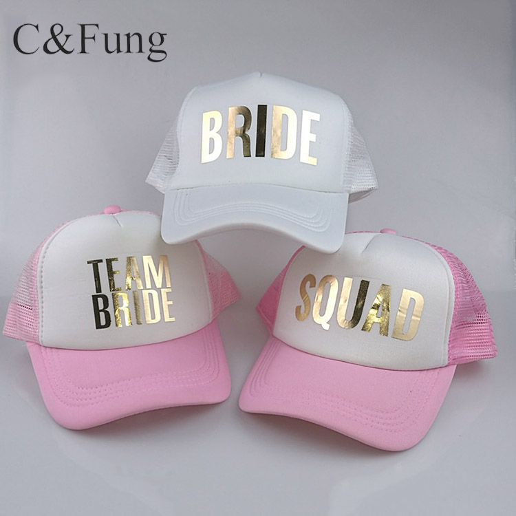 C fung Squad Bride Team Bride Trucker Hats Baseball Caps For Wedding Party  Gold Glitter Pink Mesh Hats Summer Style - Buy Bride Hats 039d9b2a72ff