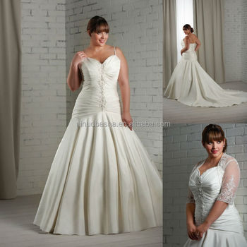 2014 Spaghetti Strap Beaded Sweetheart Ruched Bodice Satin Plus Size