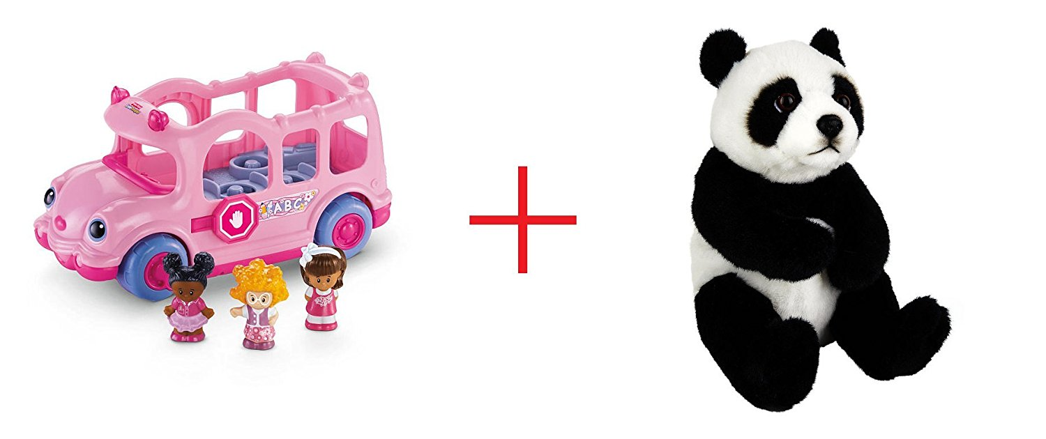 Fisher-Price Little People Lil' Movers School Bus and Toys R Us Plush 7.5 inch Panda Bear - Black/White - Bundle