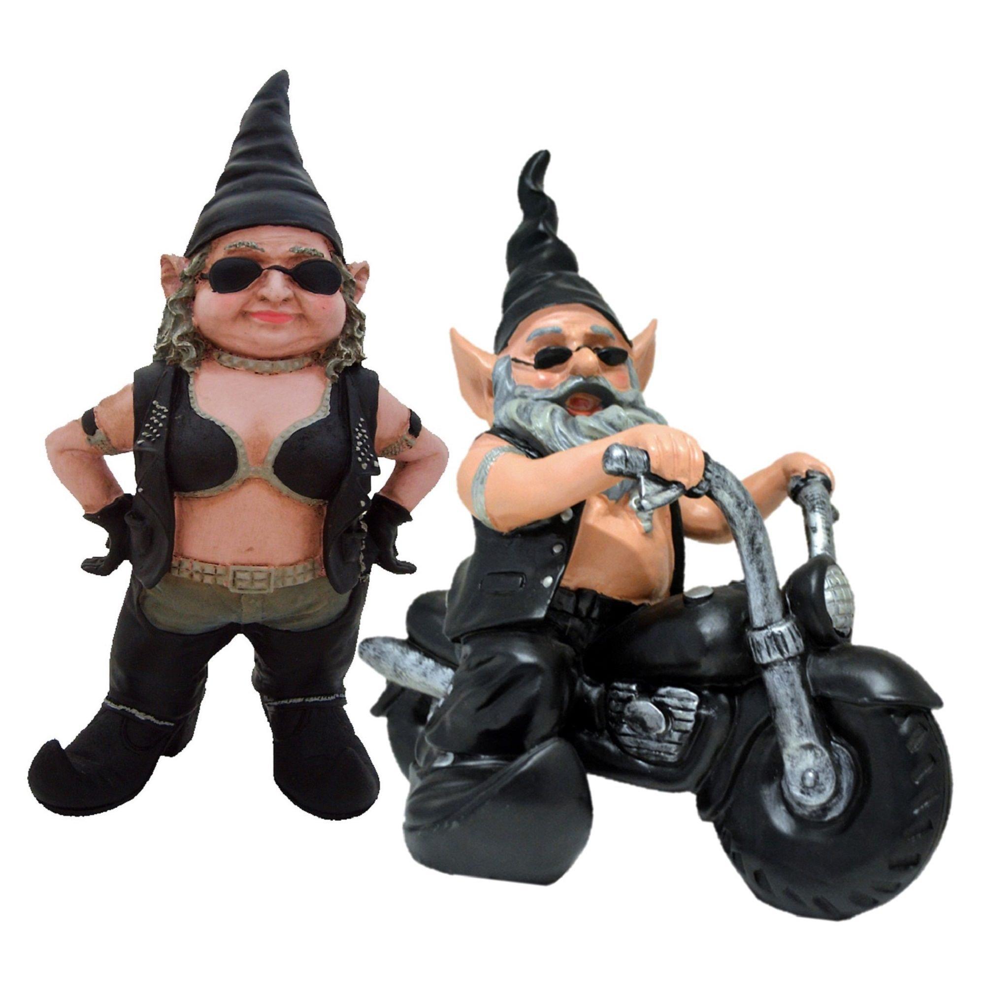 """Biker Babe"" & ""Biker Dude"" the Biker Gnome Riding His Black Bike in Leather Motorcycle Gear Home & Garden Gnome Statue"