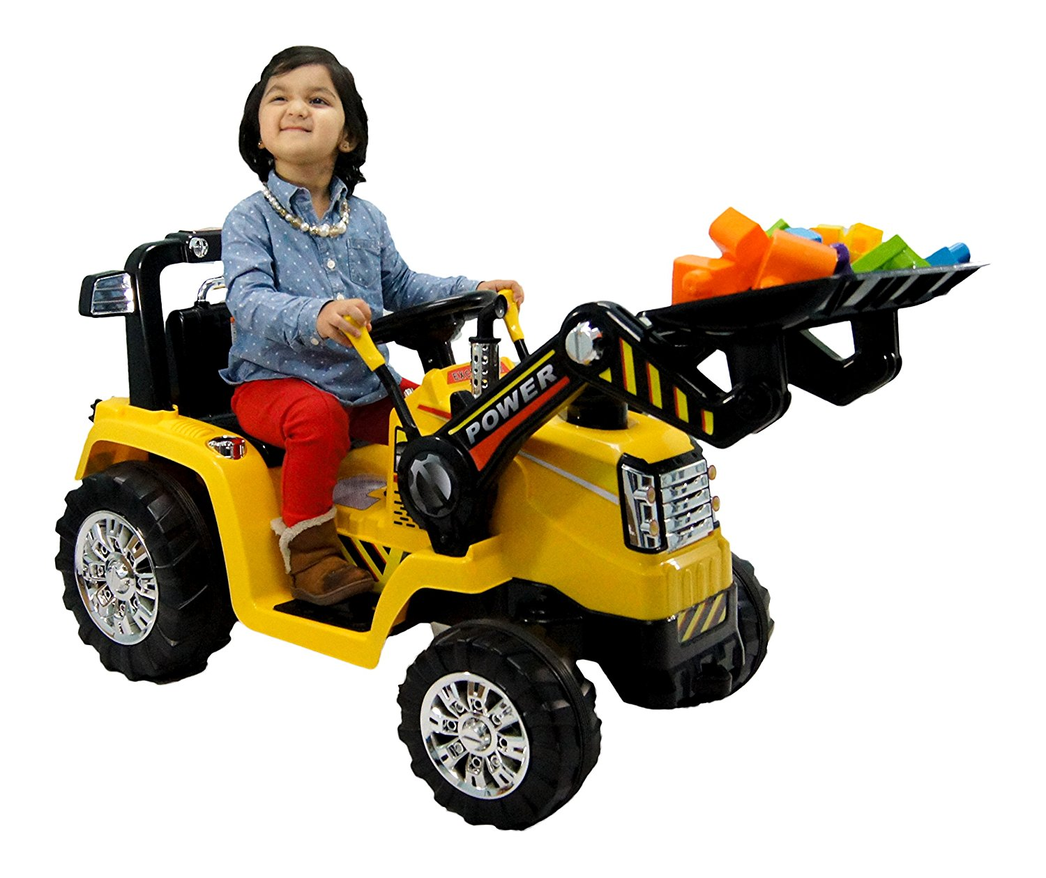 201d3bfe8bec7 Play22 Toy Tractors for Kids Ride On Excavator - Music Sounds Digger  Scooter Tractor Toys Bulldozer Includes ...