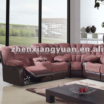 2018 Living Room Furniture Microfiber Recliner Corner Sofa With Folddown Tray Table