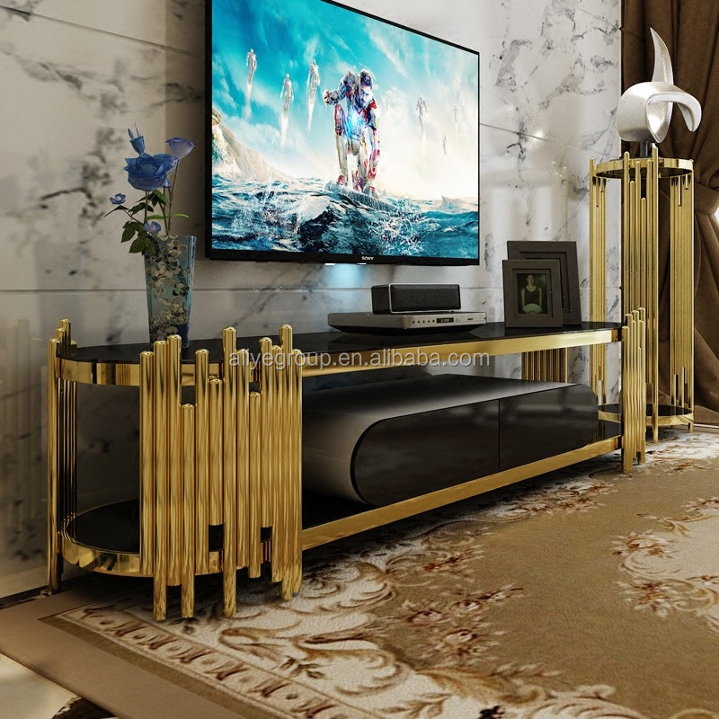 Modern Gold Tv Stand And Tv Cabinet For Living Room Furniture Use