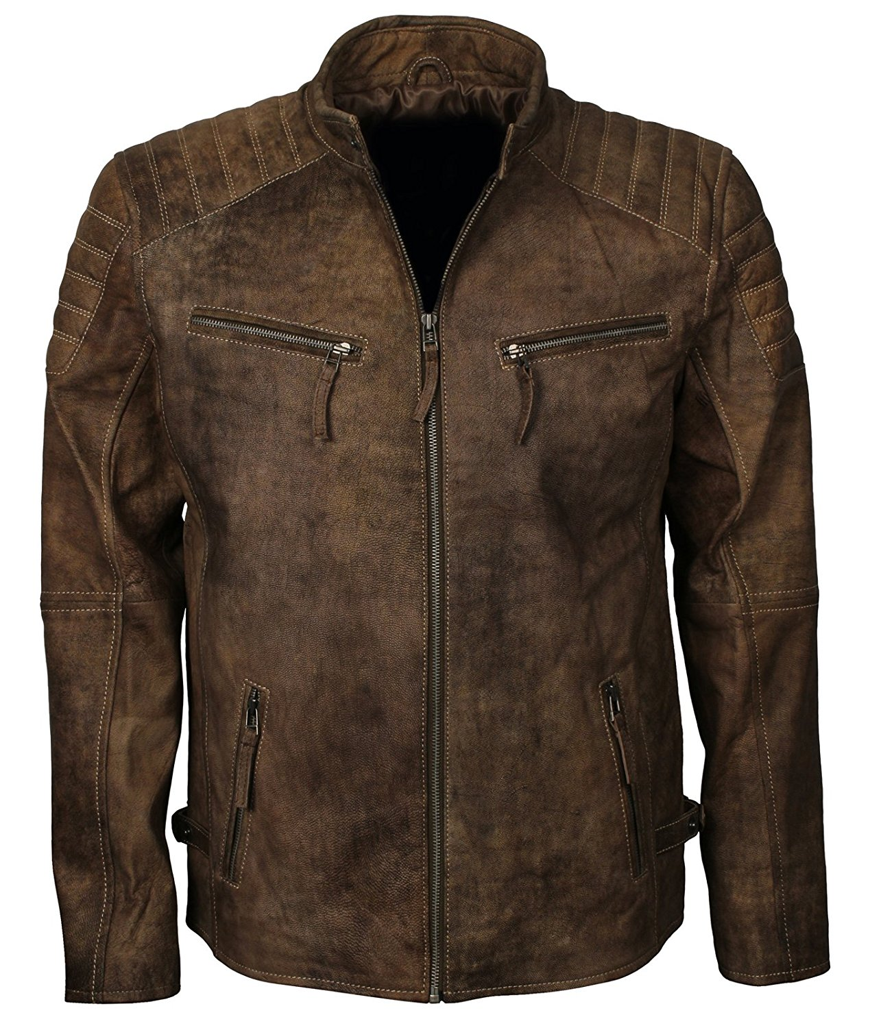 Herts Leather Retro Classic Italian Style HQ Mens Real Distressed Leather Jacket