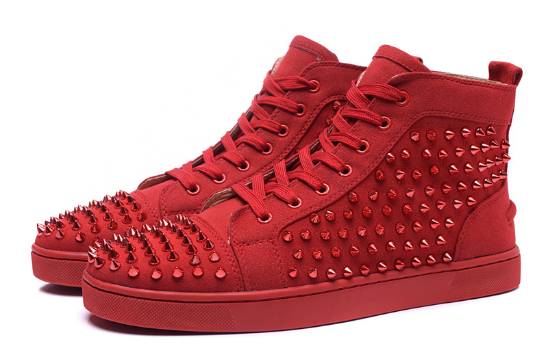 Free Shipping New Arrivals Red Suede Leather High Top Shoes 2015 Fashion Rivets Spikes Men Red Bottom Sneakers