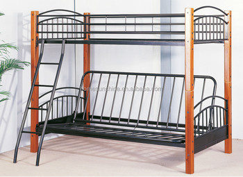 Twin Over Full Futon Bunk Bed Metal Black