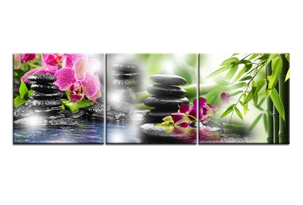 Canvas Print Wall Art Paintings For Home Decor Black Zen Stones Red Butterfly Flowers Bamboo 3 Pieces Panel Modern Giclee Stretched And Framed Artwork The Religious Pictures Photo Prints On Canvas