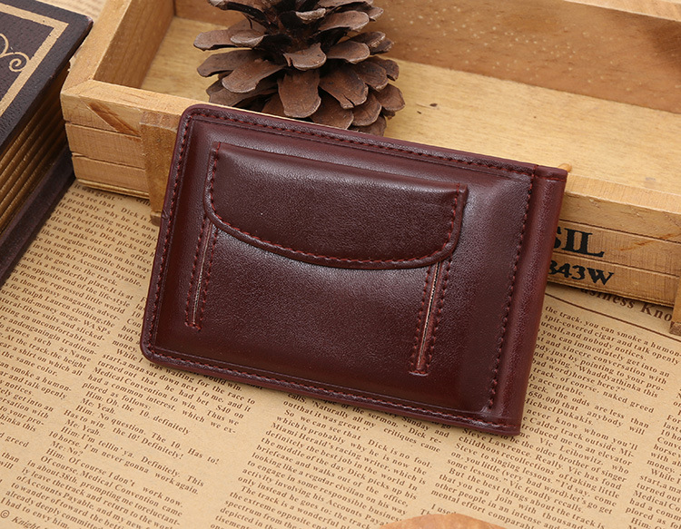 PU leather portable youth ID card and cash holder men's creative short money clips wallet