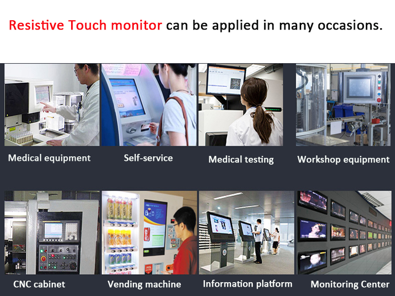 21.5 inch industrial open frame embedded resistive or capacitive touchscreen monitor