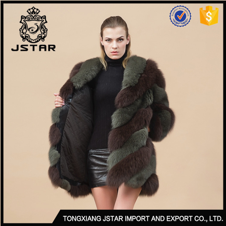 Stable Quality Jacket Long Style Blue Patchwork Winter Coat 2017 Fox Cheap Fur Coats