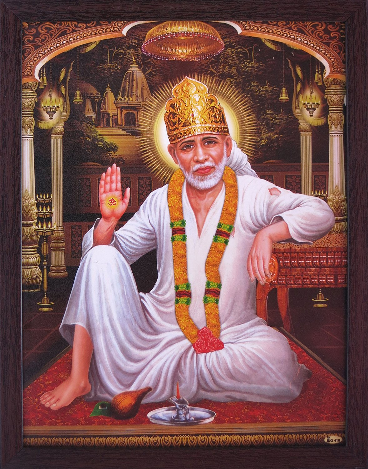 Hindu Lord Sai Baba with Om Symbol Which Is Showing in His Hand and Sitting At a Palace, a Hindu Religious Poster for Home / Offices and Gift Purpose