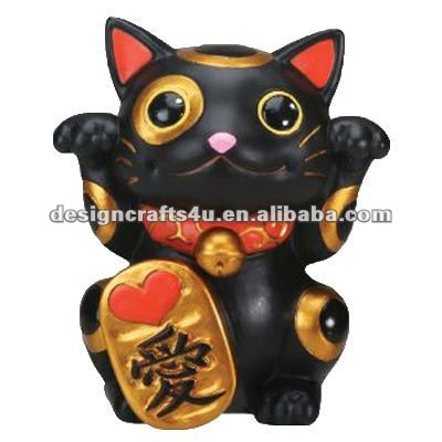 Black Ceramic Beckoning Cat Waving Arm