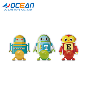 6pcs painting paper robot kits walking wind up robot for baby