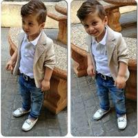 ZH0701C Casual Children's clothing sets spring/autumn baby boy clothing sets Boy suit cotton Kids outerwear/coats+shirts+jeans 3