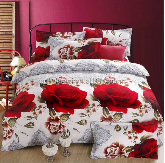 red rose flowers 3d wedding bed sheet set and price