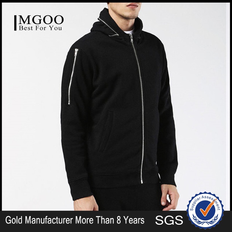MGOO Custom Made 100% French Terry Long Sleeves Pure Black Longline Hoodies Streetwear Removable Hood Zip Up