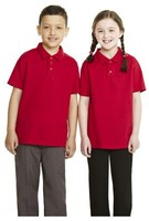 SU0023 OEM 100% Cotton Red Unisex School Pique Polo Shirts with low price