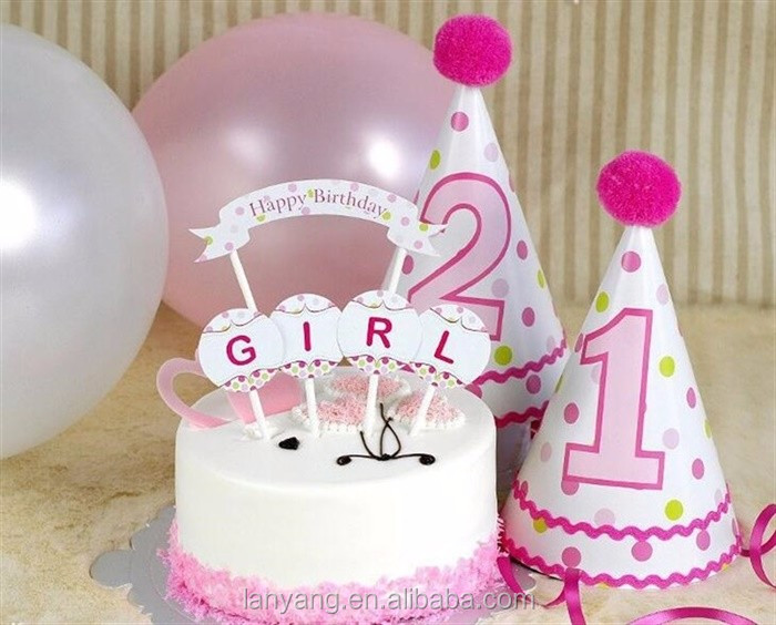 Customized Round Pink Elephant Girl Cupcake Picks Baby Shower Birthday Party Cake Decor Toppers