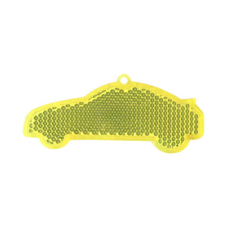 News fashion EN 13356 Custom PMMA plastic Car shape reflective keychain for promotional gifts