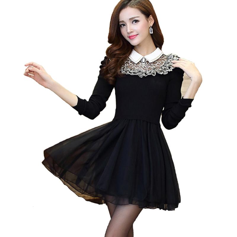 Buy Lolita Dress 2015 Women Winter Warm Long Sleeve Mesh Patchwork