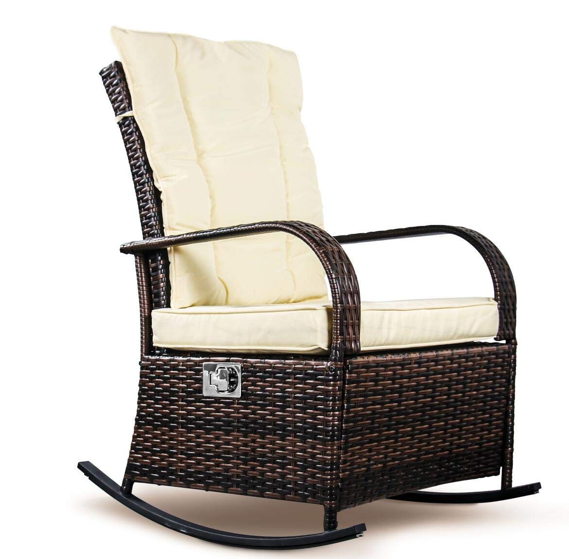 SCYL Color Your Life Outdoor Wicker Rocking Chair with Adjustable Backrest and Footrest,All Weather Patio Porch Deck Reclining Chair w/Cushion Beigewhite001(Brown)