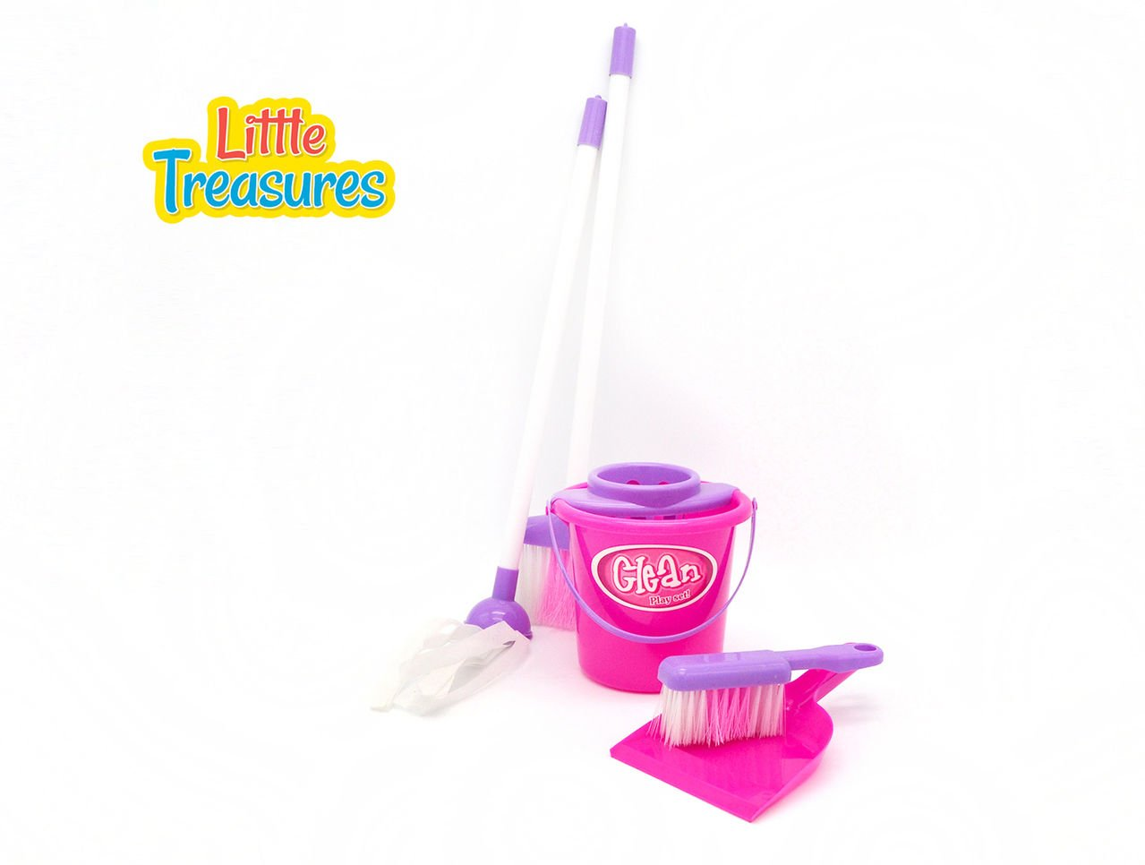 Little Treasures Little Helper 5 piece pretend and play deluxe Cleaning Play Set with bucket, dustpan and brush, mop and broom