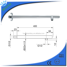wenzhou sanitary fittings 201 stainless steel chrome round wall Shower Arm round 400mm with Flange and 1/2 Threaded Connection
