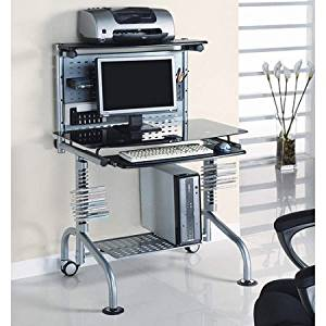Innovex Glass Computer Workstation with Monitor and Printer Shelf, Black Modern, compact computer desk Modern computer workstation with lower tower shelf Adjustable back support and printer shelf