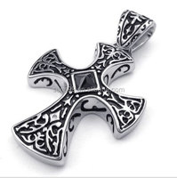 Stainless Steel Cross Necklace Steel Cross Necklace Men's Solid Celtic Knot Black Cross Pendant Necklace