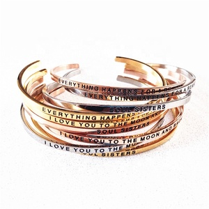Hot sale Custom Logo and words Engraved inspirational Message Stainless Steel rose gold cuff bracelet indian sex bangle