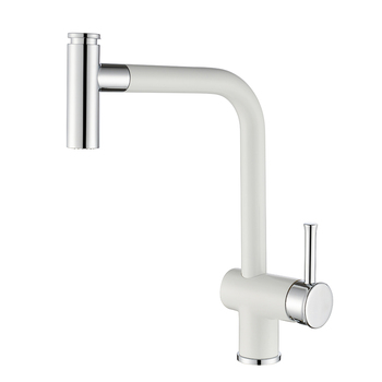 Single Handle Copper Pull Out Spray White Kitchen Faucet