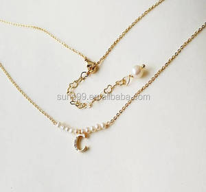 New Dseign Golden Initial Necklace, Personalized Initial, Pearl, Golden Chain Necklace For BFF