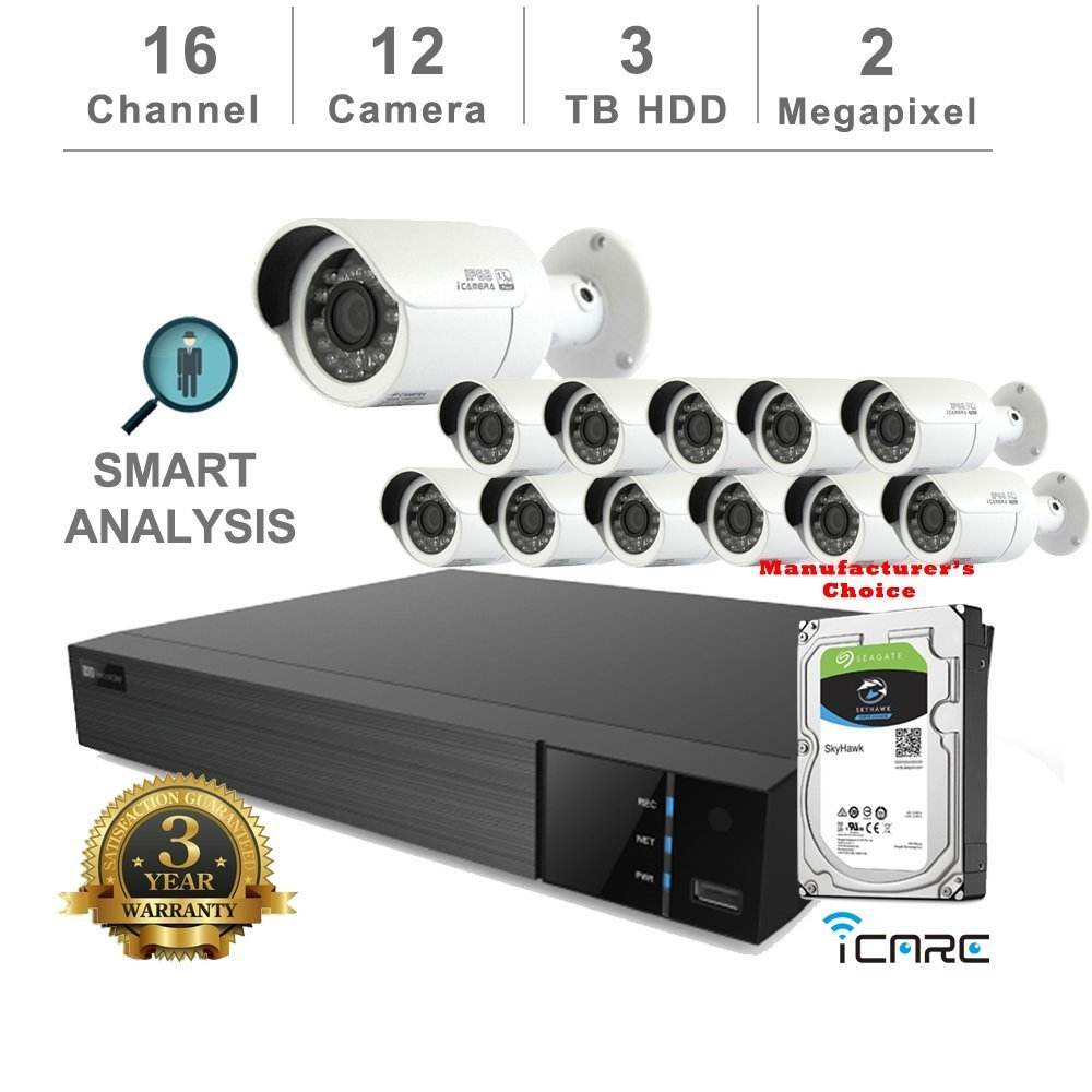 iCare-DVR Smart Analysis DVR Security Kits: 16CH 5 in 1 DVR w/3TB Security HDD+ (12) 2MP Outdoor IR White Bullet (3 Years Warranty; Local US Support)