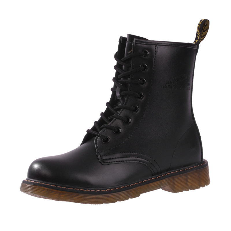 b0ec122e40 Buy Fashion Style Motorcycle Boots Vintage Genuine Leather Women Ankle Boots  Black Lace Up Shoes Cotton Fabric Winter Women Boot S22 in Cheap Price on  ...
