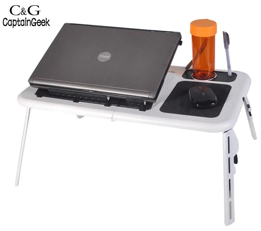 2016 New Portable Adjustable Laptop Table Usb Folding Abs