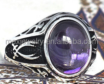 Retro Black Hot Sale 925 Sterling Silver Purple Islamic ring with Carnelian Aqeeq Zulfiqar Dhulfiqar sword