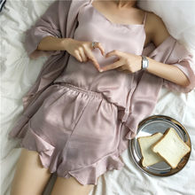 Fdfklak 2020 летняя черная/винно-красная пижама из 3 предметов, Женская пижама, сексуальная пижама, женская пижама, пижама для сна, Q939(Китай)