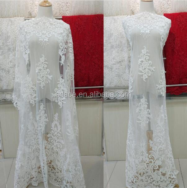 Ivory Heavy Working Heading Bridal Lace Fabric Tulle Mesh Beading Lace