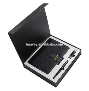 Factory price wholesale promotion custom luxury A5 notebook pen and usb flash drive business corporate gift set