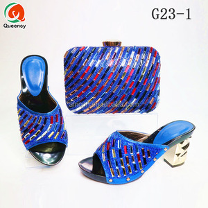 G23 Queency Nigeria Party Fashion Ladies Blue Shoes and Bags Set to Match High Heel Slippers