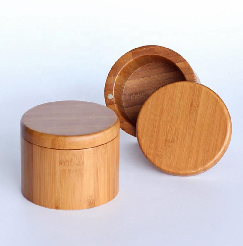 Round Bamboo Wood Salt & Pepper Spice Box with Magnetic Closure