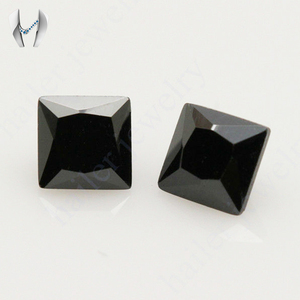 Square 8x8mm loose gemstone polished black gemstone names