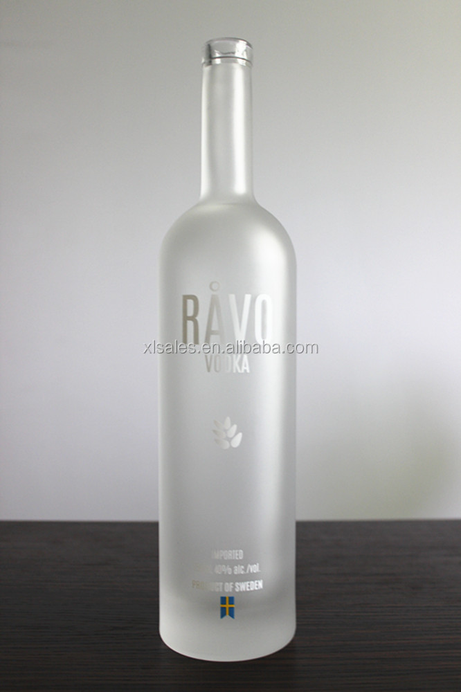 EMPTY 1 LITRE FROSTED GLASS BOTTLE 1000 ML FOR VODKA