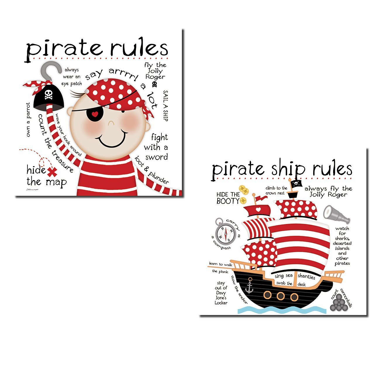 "Adorable ""Pirate Rules"" and ""Pirate Ship Rules"" Set; Perfect for a Child's Room or Nursery: Two 12x12in Poster Prints"