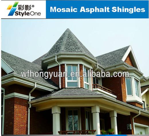 Red Mosaic Asphalt Shingles Hexagonal Roof Tiles Hot