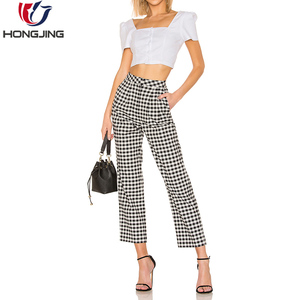 Elegant Fashion Ginghams Pockets Design Long Casual Pants Women Trousers All season Pants